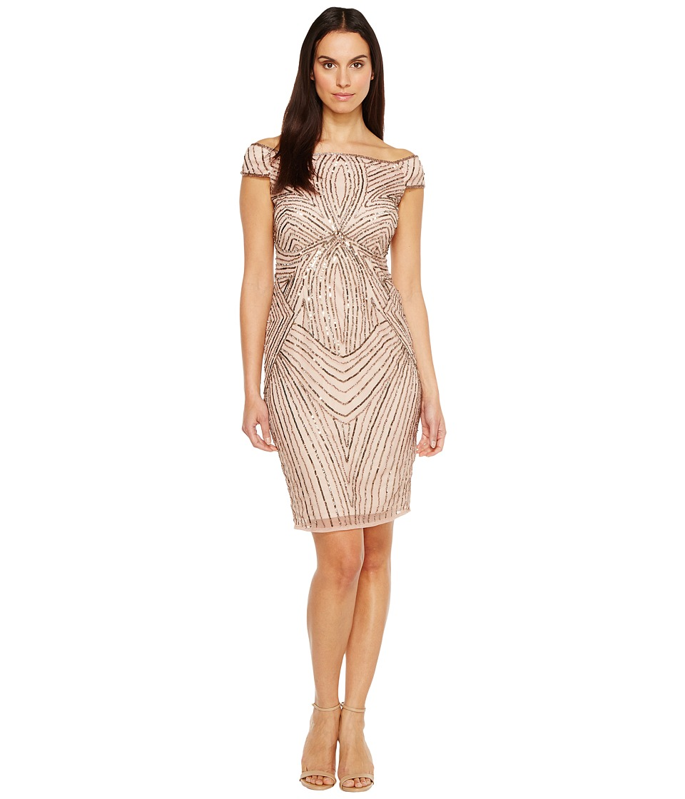 Adrianna Papell - Off the Shoulder Swirl Beaded Cocktail Dress (Rose Gold) Women's Dress