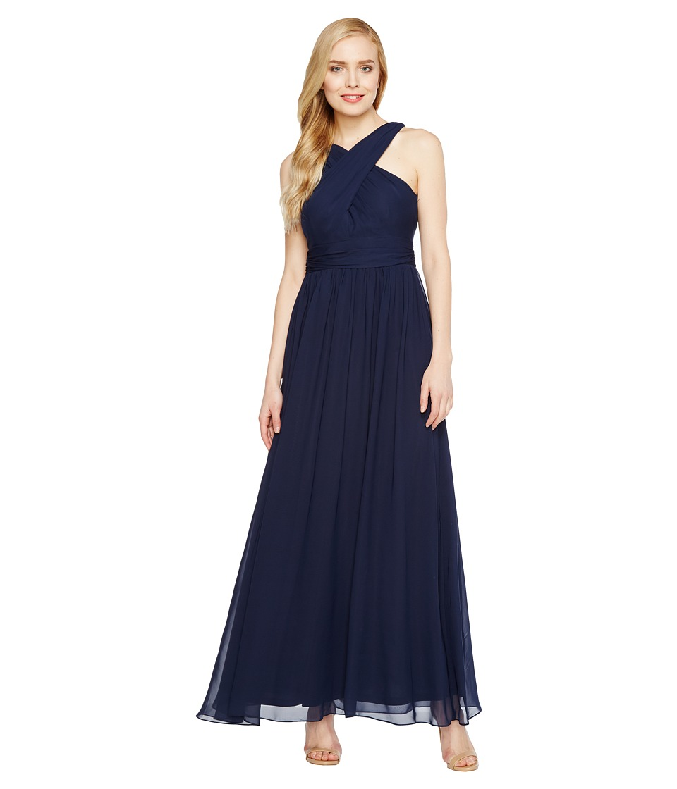 Adrianna Papell - Halter Chiffon Open Back Gown (Midnight Blue) Women's Dress