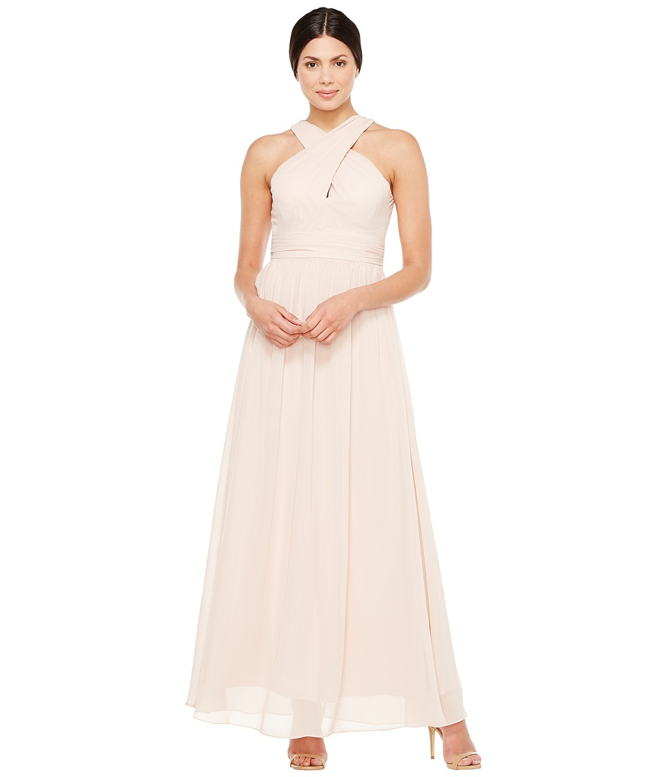 Adrianna Papell - Halter Chiffon Open Back Gown (Blush) Women's Dress