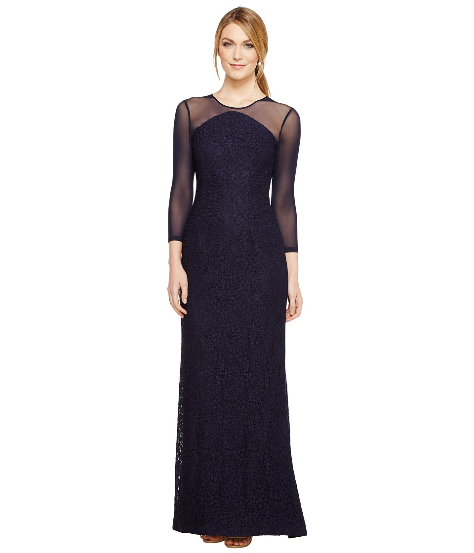 Adrianna Papell Lace Modified Mermaid Gown (Navy) Women