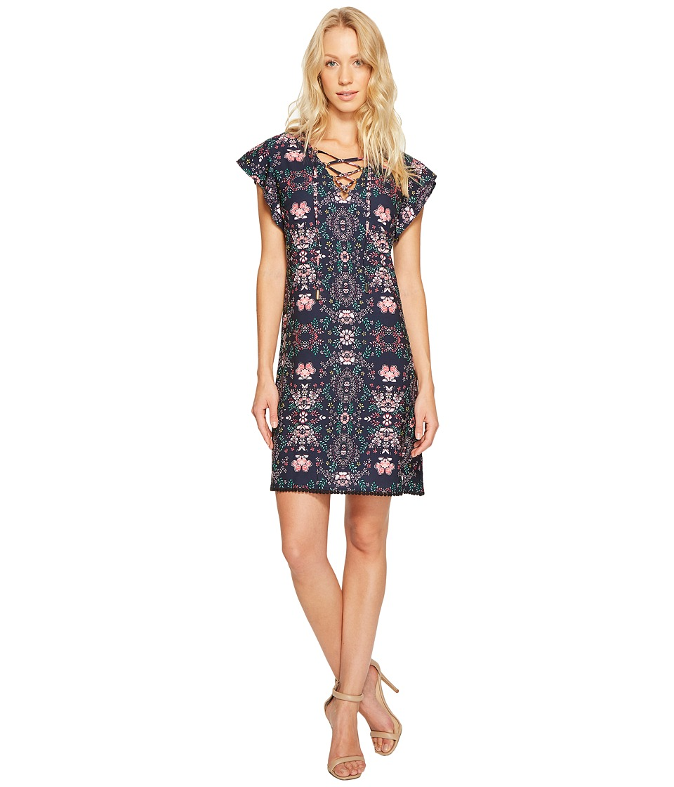 Jessica Simpson - Printed Lace-Up Dress JS7A9420 (Print) Women's Dress