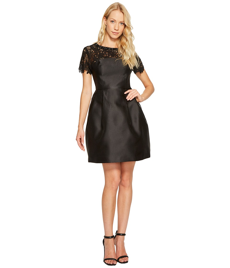 Jessica Simpson Solid Party Dress with Neck Trim JS7A9450 (Black) Women