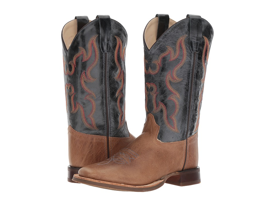 Old West Kids Boots - Broad Square Toe (Big Kid) (Tan Fry 2) Cowboy Boots