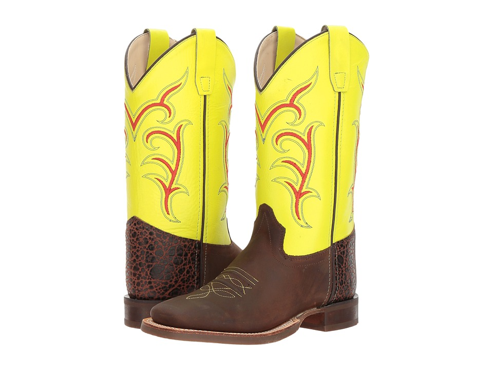Old West Kids Boots Broad Square Toe (Big Kid) (Brown) Cowboy Boots