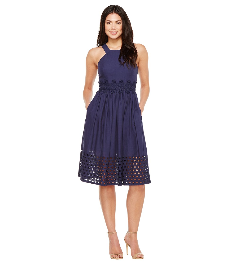Vince Camuto - Cotton Eyelet Sleeveless Fit and Flare Midi Dress (Navy) Women's Dress