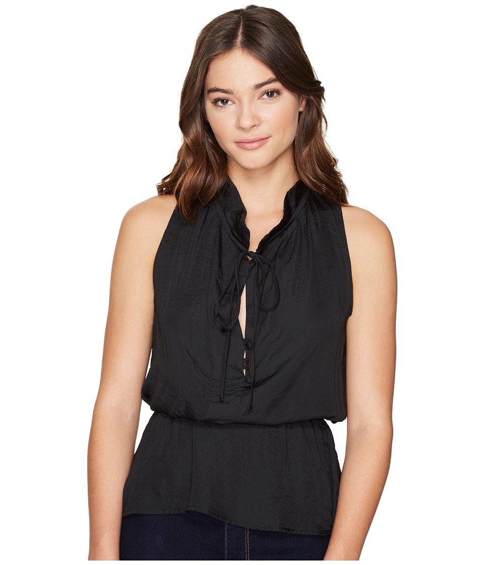 ROMEO & JULIET COUTURE - Ruffle Neck Woven Top (Black) Women's Clothing