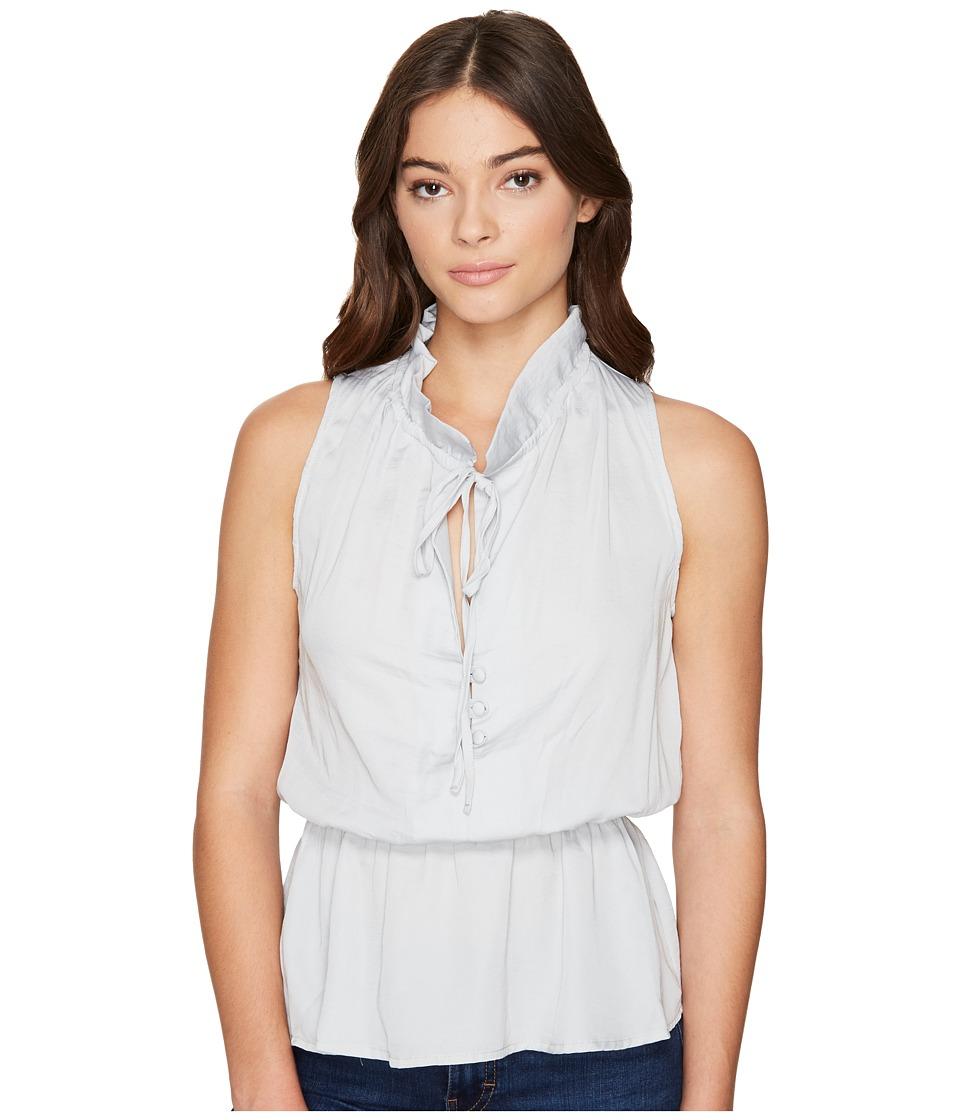 ROMEO & JULIET COUTURE - Ruffle Neck Woven Top (Light Grey) Women's Clothing