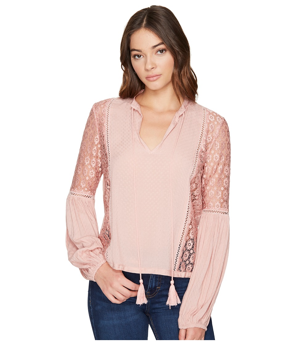 ROMEO & JULIET COUTURE - Lace Trim on Side Bodies Top (Dusty Pink) Women's Clothing