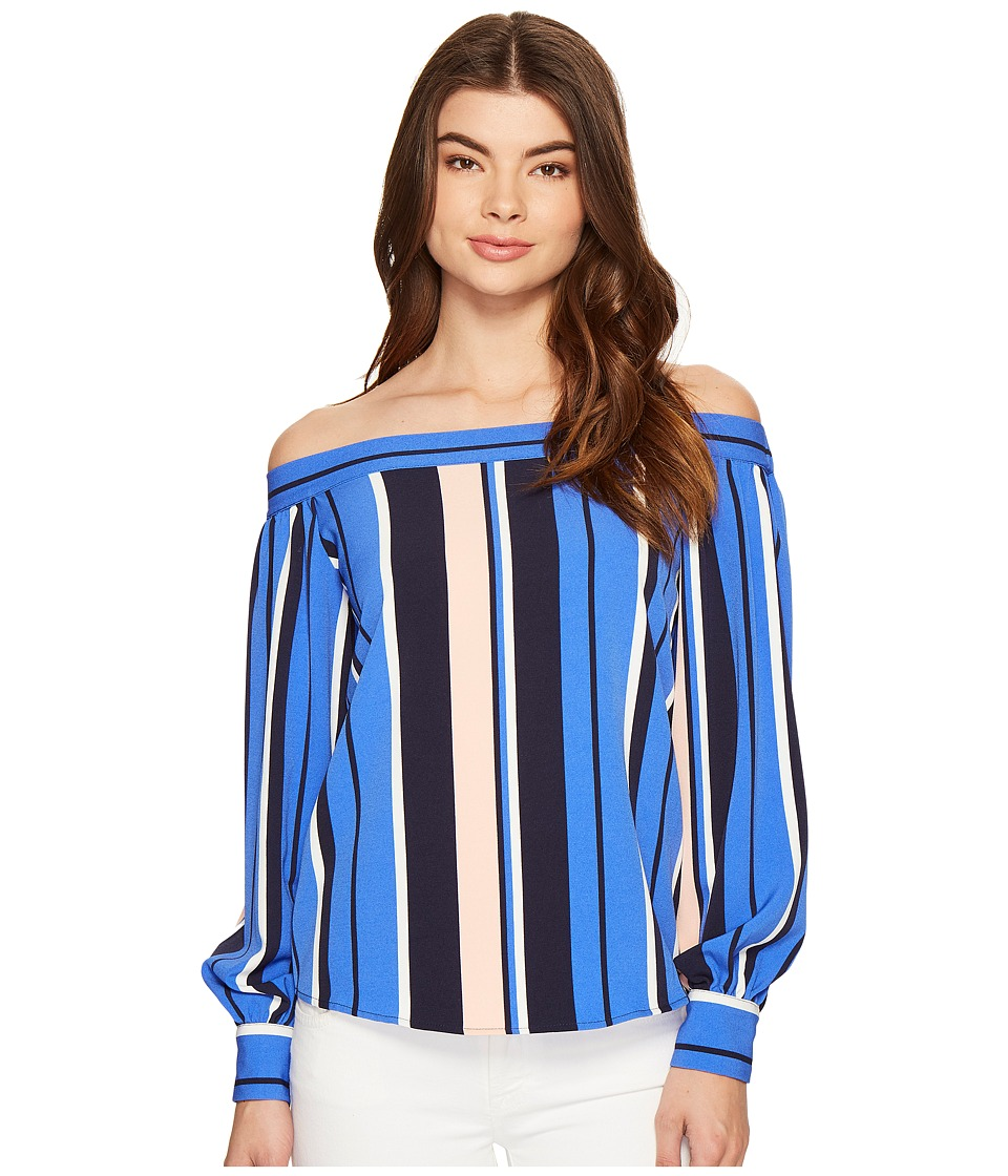 ROMEO & JULIET COUTURE - Off the Shoulder Multicolor Stripe Top (Blue Combo) Women's Clothing