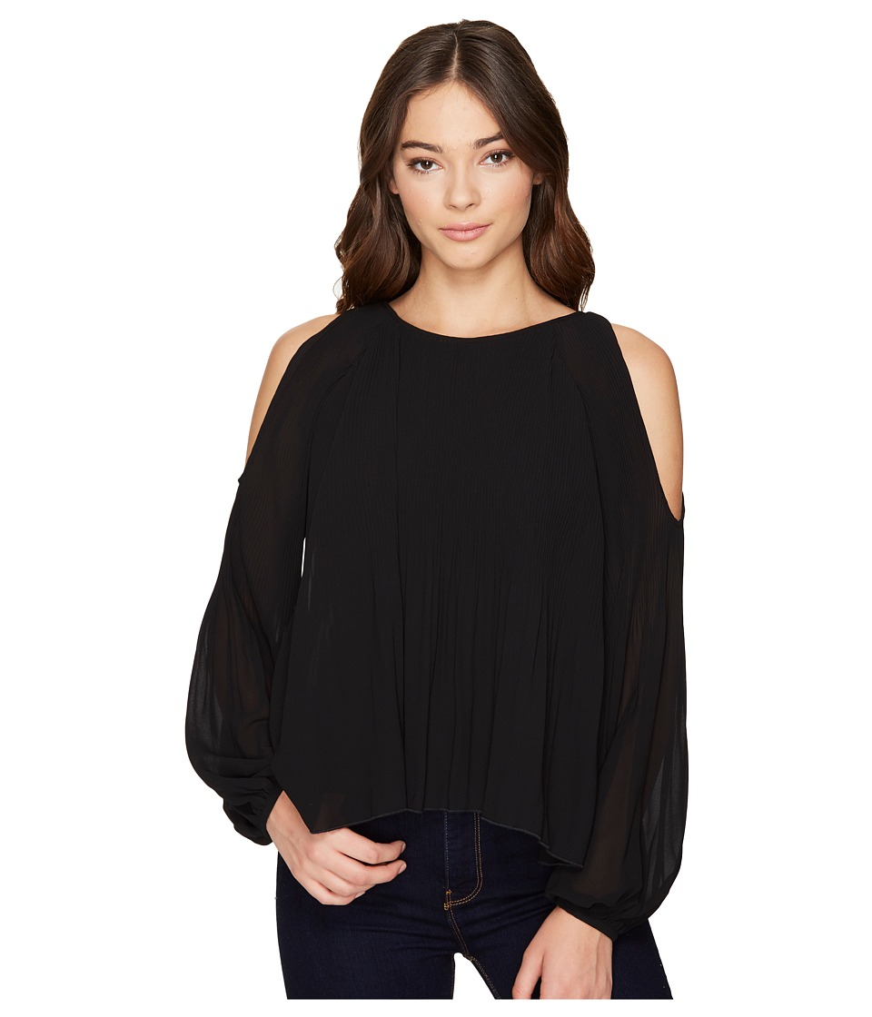 ROMEO & JULIET COUTURE - Cold Shoulder Pleated Top (Black) Women's Clothing
