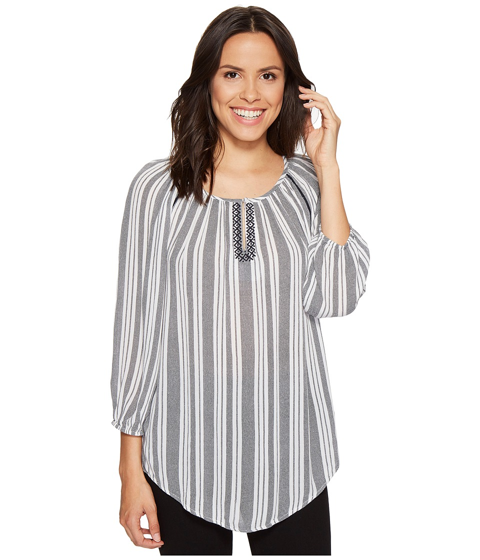 ROMEO & JULIET COUTURE - V-Neck Stripe Woven Top (Navy/White) Women's Clothing