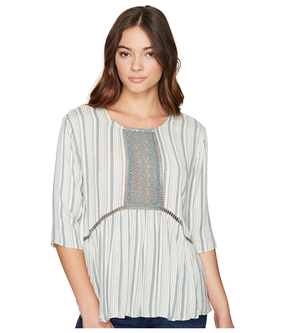 ROMEO & JULIET COUTURE - 3/4 Sleeve Stripe Top with Lace (Dusty Sage) Women's Clothing