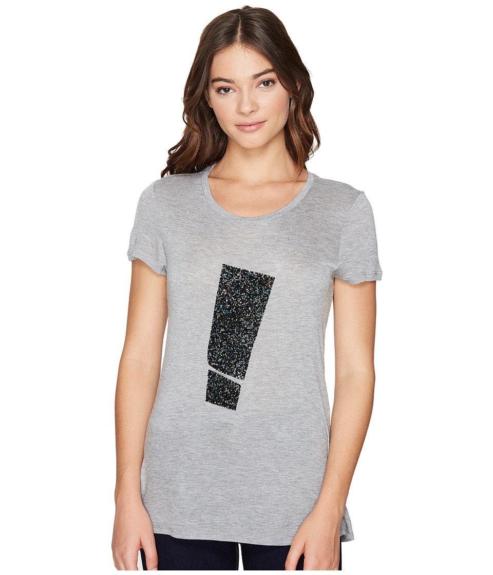 ROMEO & JULIET COUTURE - Short Sleeve Top with Hotfix Stone (Heather Grey) Women's Clothing
