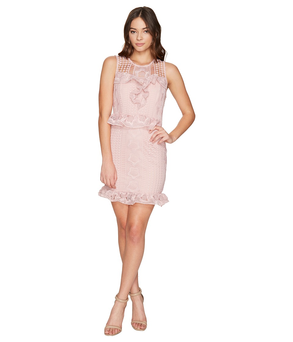 ROMEO & JULIET COUTURE - Ruffle Waist Lace Dress (Dusty Pink) Women's Dress