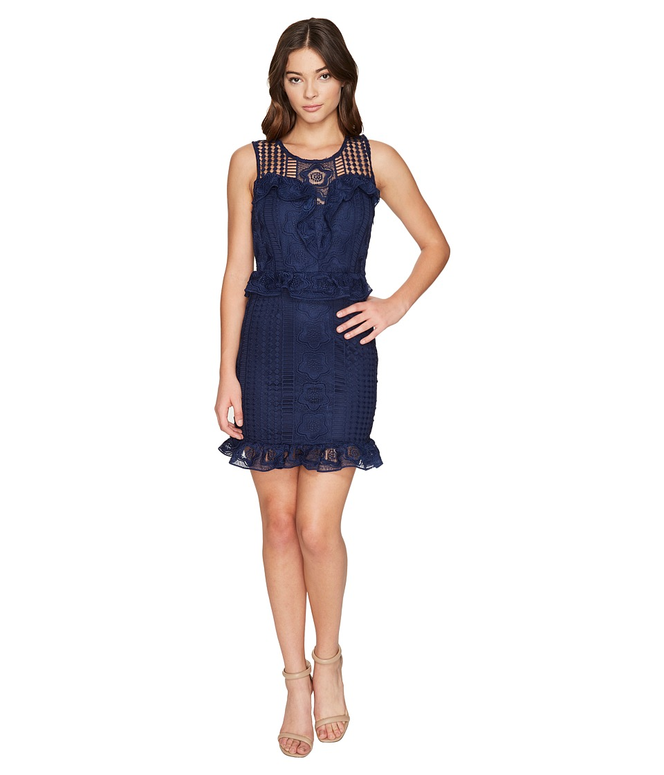 ROMEO & JULIET COUTURE - Ruffle Waist Lace Dress (Navy) Women's Dress
