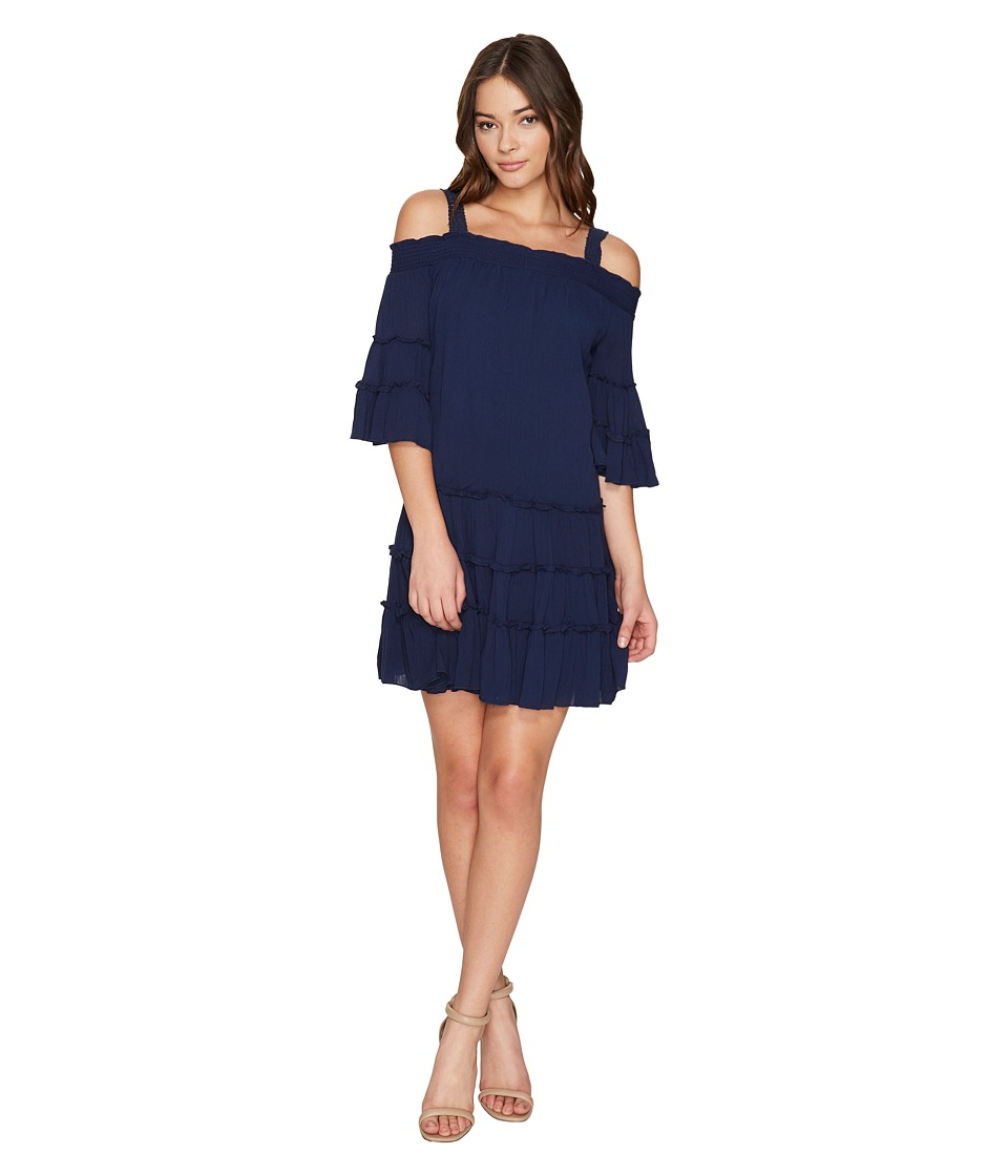ROMEO & JULIET COUTURE - Off the Shoulder Strap Midi Dress (Navy) Women's Dress
