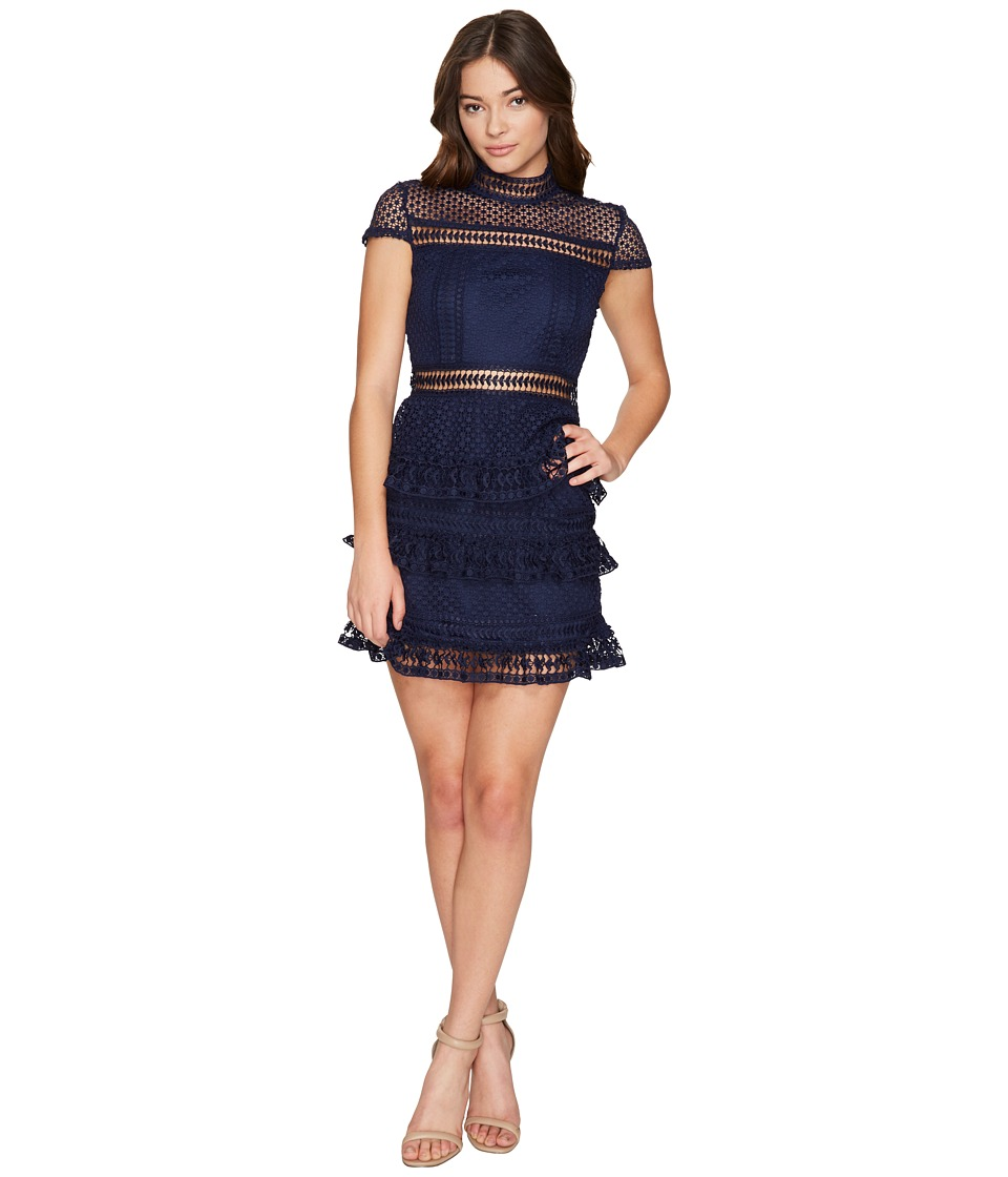 ROMEO & JULIET COUTURE - Cap Sleeve Mock Neck Lace Dress (Navy) Women's Dress
