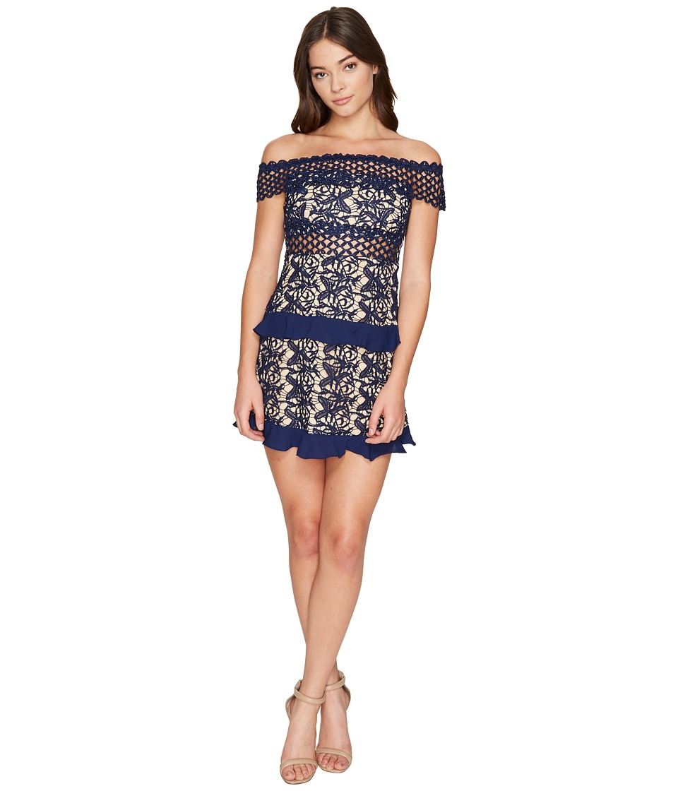 ROMEO & JULIET COUTURE - Off the Shoulder Solid Color Lace Dress (Navy) Women's Dress