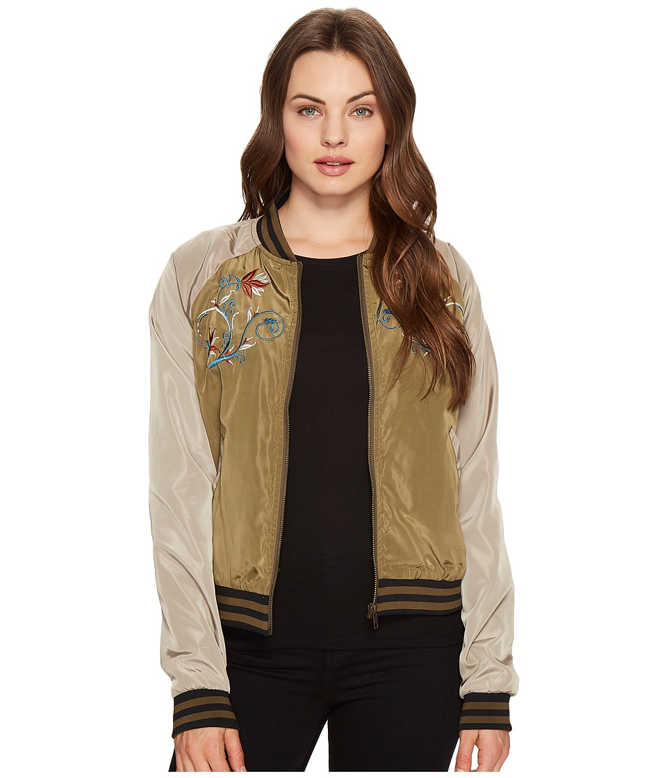 ROMEO & JULIET COUTURE - Embroidered Varsity Jacket (Olive) Women's Jacket