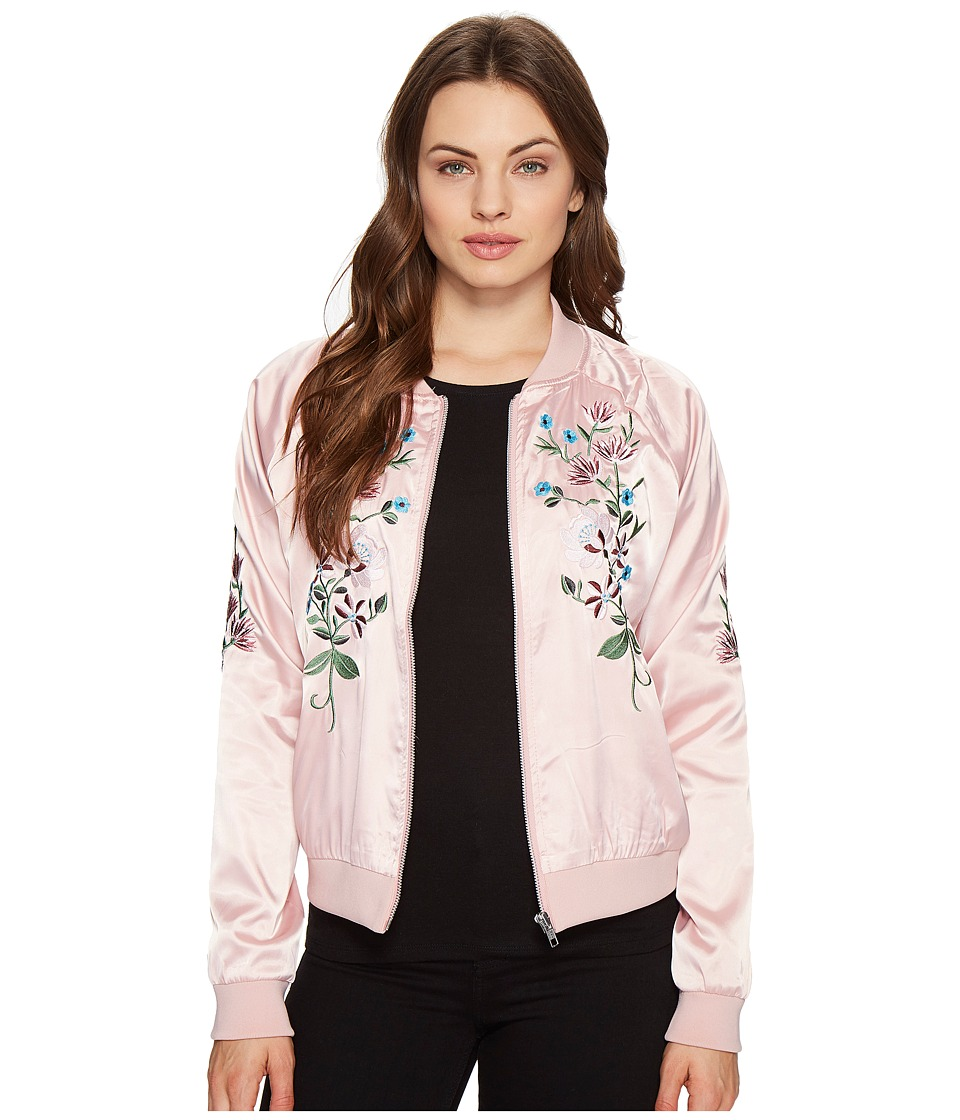 ROMEO & JULIET COUTURE - Flower Embroidered Varsity Jacket (Dusty Pink) Women's Jacket