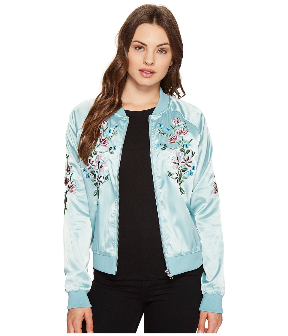 ROMEO & JULIET COUTURE - Flower Embroidered Varsity Jacket (Mint) Women's Jacket