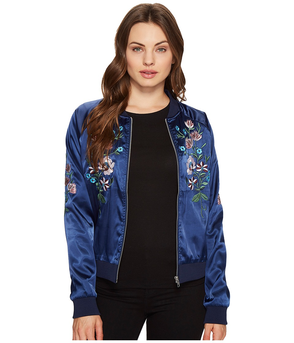 ROMEO & JULIET COUTURE - Flower Embroidered Varsity Jacket (Navy) Women's Jacket