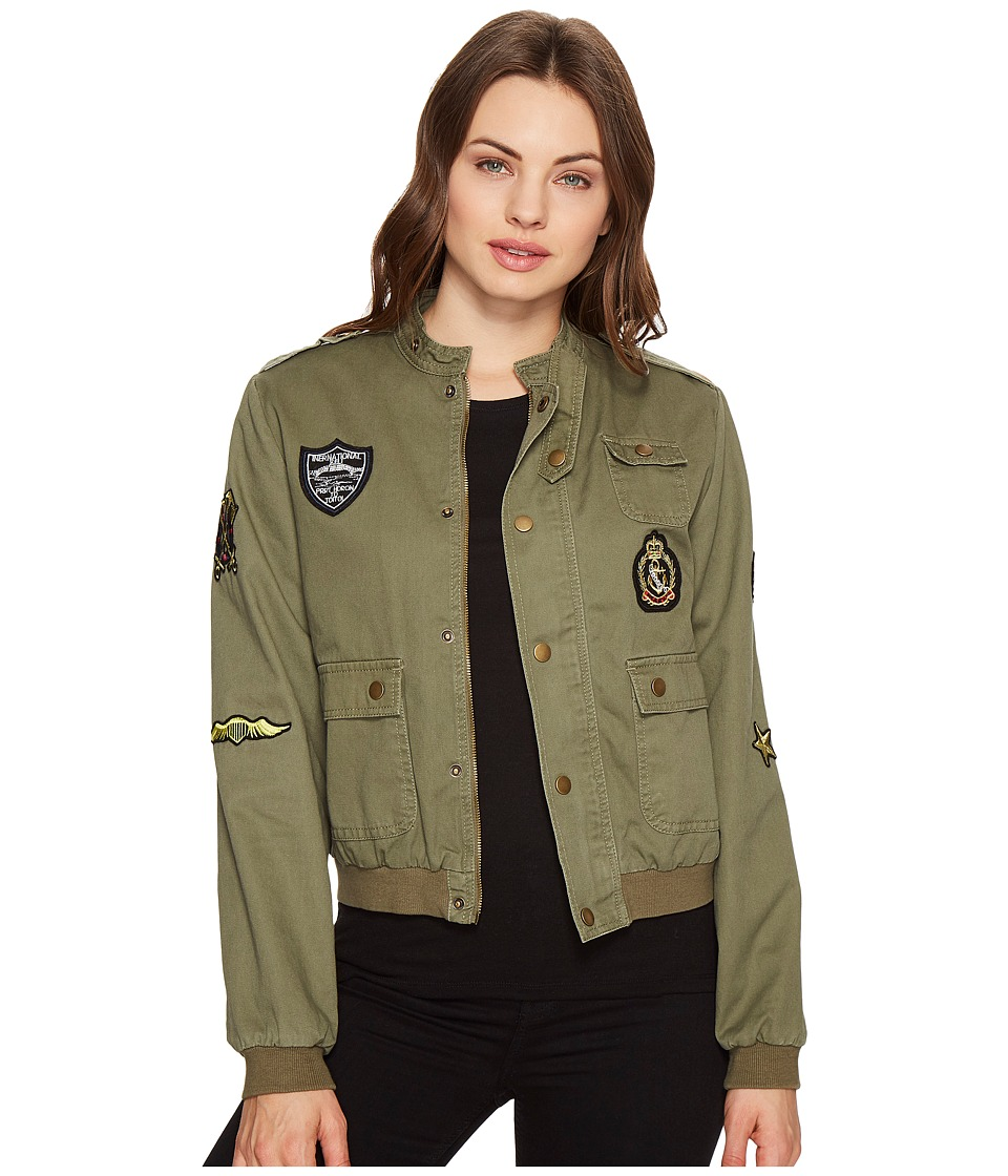 ROMEO & JULIET COUTURE - Button up Jacket with Patches (Olive) Women's Jacket