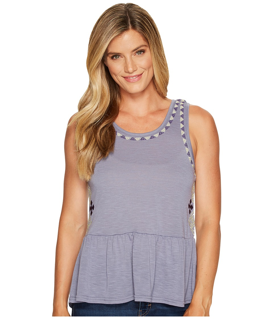 Cruel - Peplum Tank Top with Embroidery (Purple) Women's Sleeveless