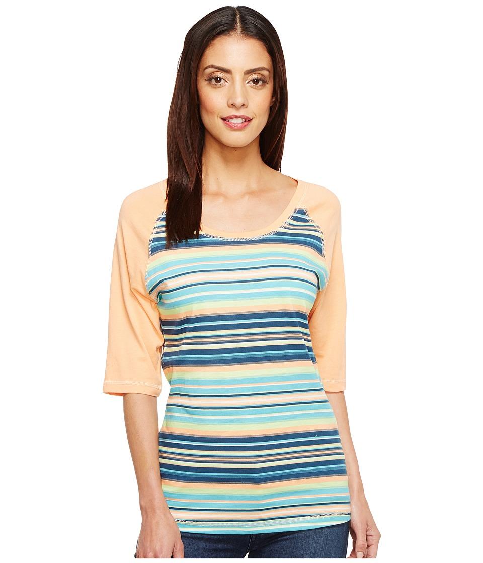 Cruel - Elbow Raglan Sleeve Print Tee (Coral) Women's T Shirt