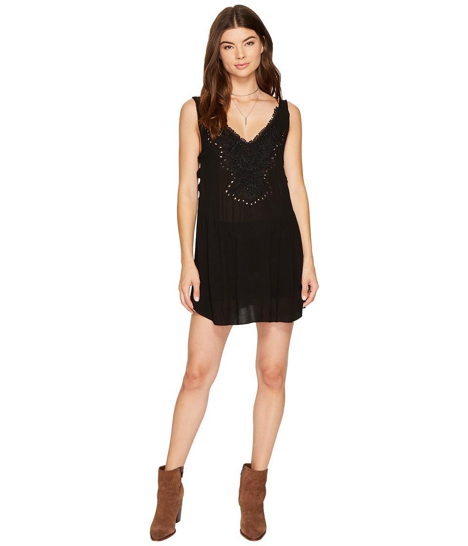 Free People - Delphine Embellished Slip (Black) Women's Dress