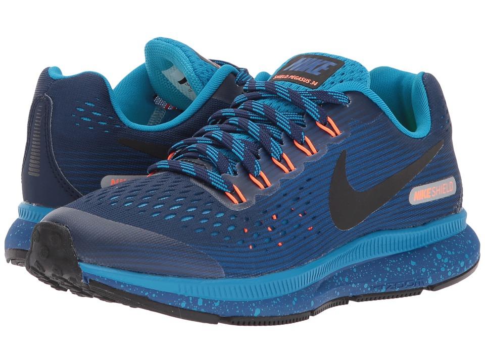 Nike Kids Air Zoom Pegasus 34 Shield (Little Kid/Big Kid) (Binary Blue/Black/Gym Blue/Blue Orbit) Boys Shoes