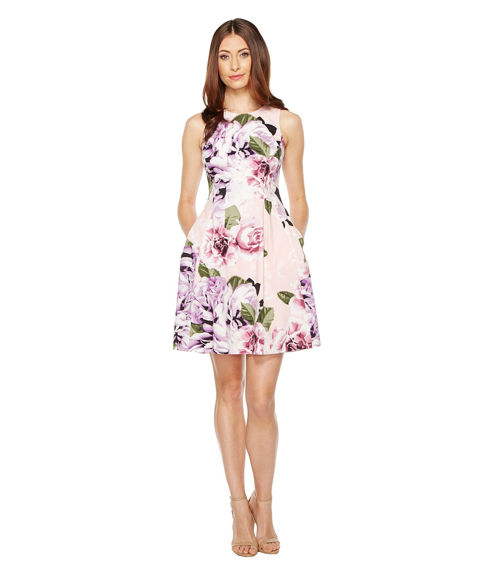 Vince Camuto - Printed Cotton Fit and Flare Dress (Pink Multi) Women's Dress