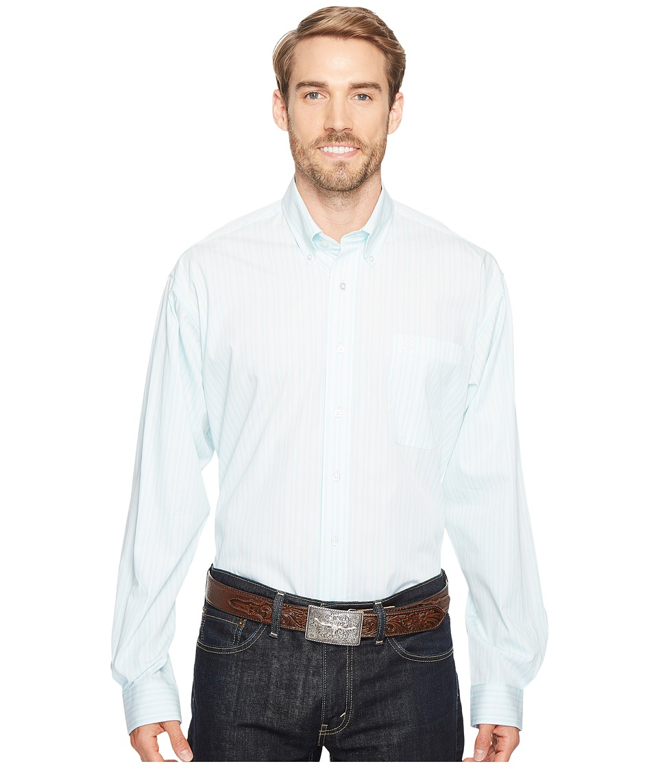 Cinch - Plain Weave Stripe (Light Blue) Men's Long Sleeve Button Up