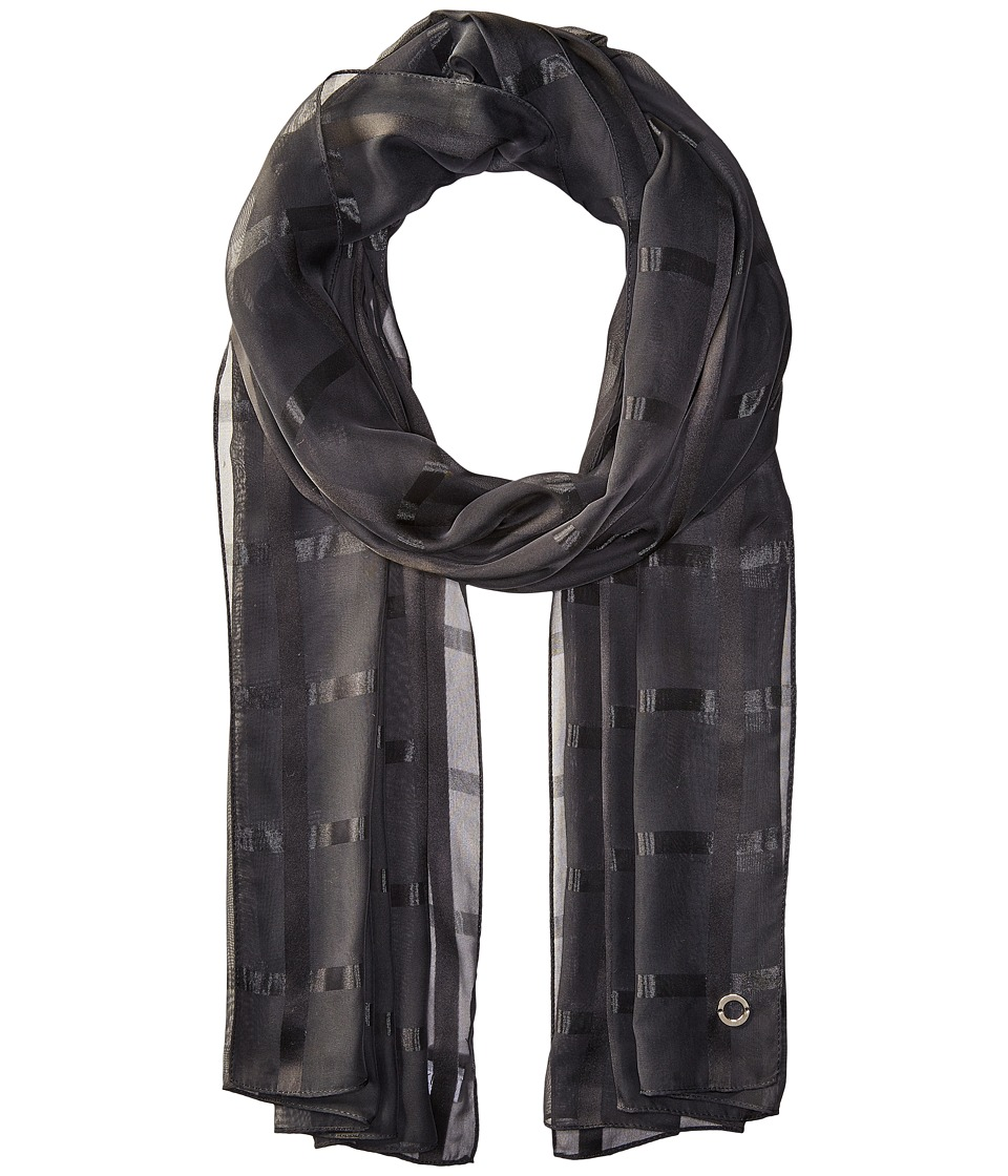 Calvin Klein - Solid Shadow Stripe (Black) Scarves