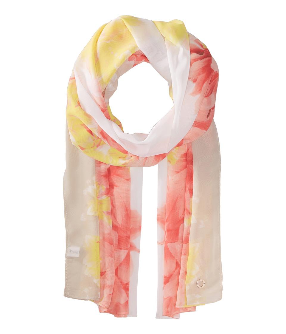Calvin Klein - Border Floral Poly Chiffon (Porcelain Rose) Scarves