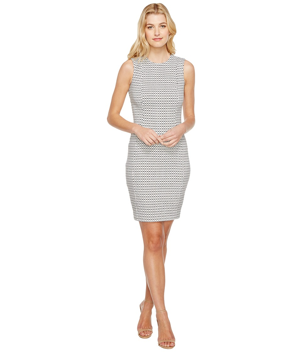 Calvin Klein - Jacquard Sheath Dress CD7E4A00 (White/Black) Women's Dress