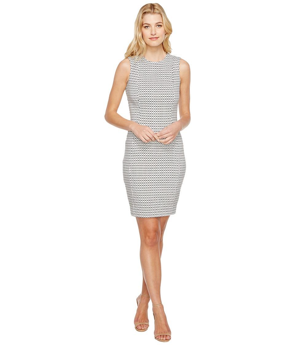 Calvin Klein Jacquard Sheath Dress CD7E4A00 (White/Black) Women