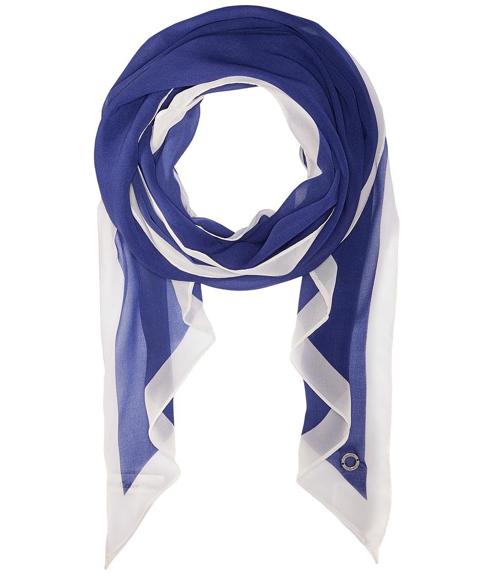 Calvin Klein - Angled Edge with Border (Regatta) Scarves