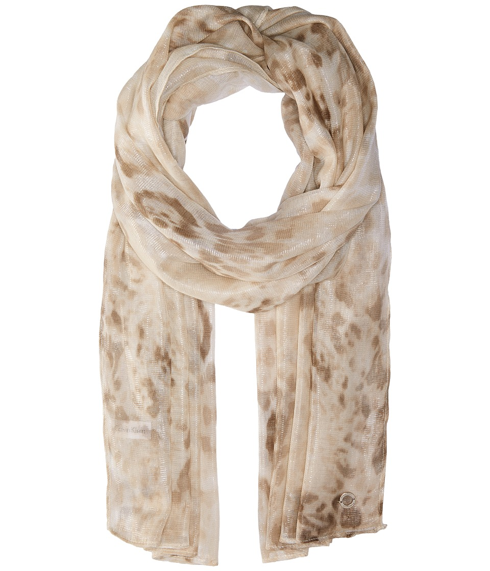 Calvin Klein - Floral Liquid Animal (Latte) Scarves