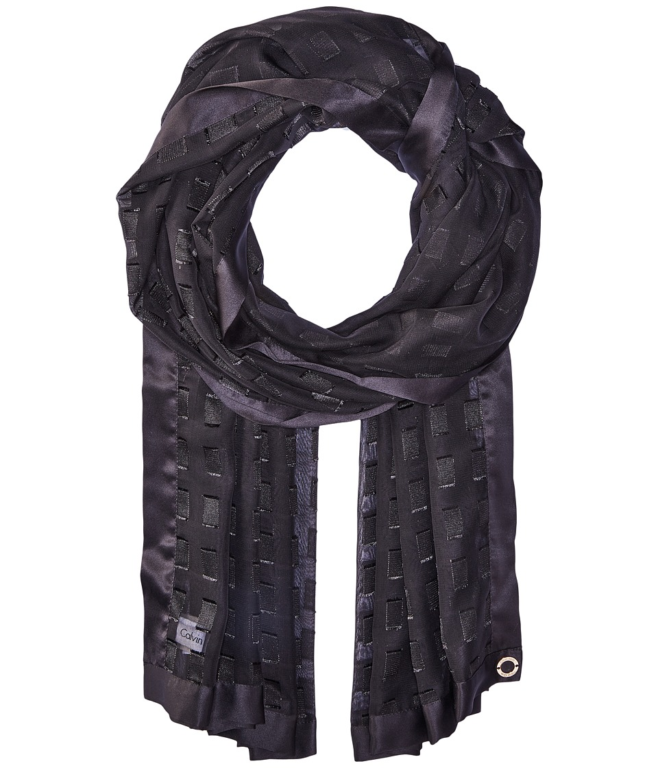 Calvin Klein - Satin Border Rectangle (Black) Scarves