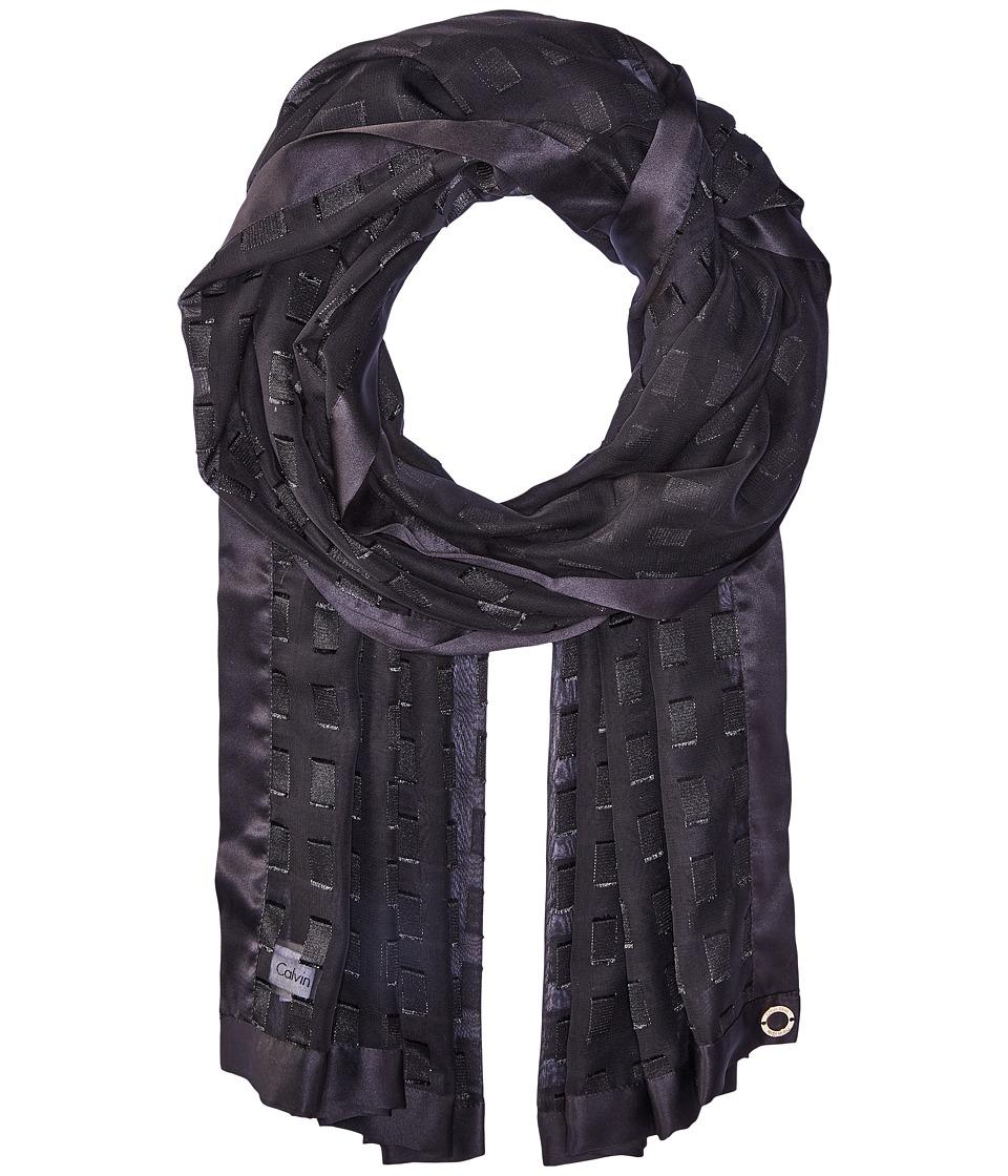 Calvin Klein - Satin Border Rectangle (Black) Scarves