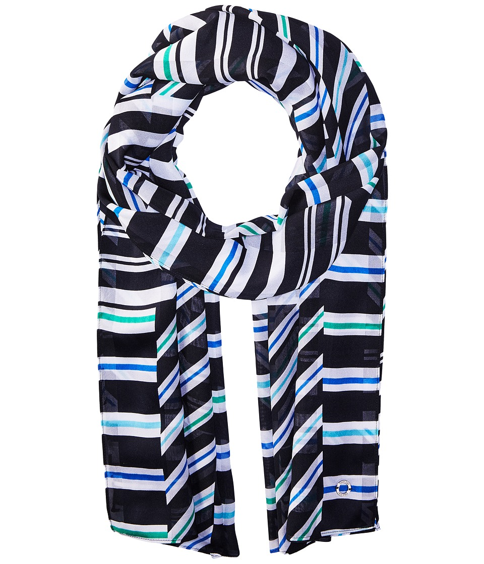 Calvin Klein - Diagonal Shadow Stripe (Black) Scarves