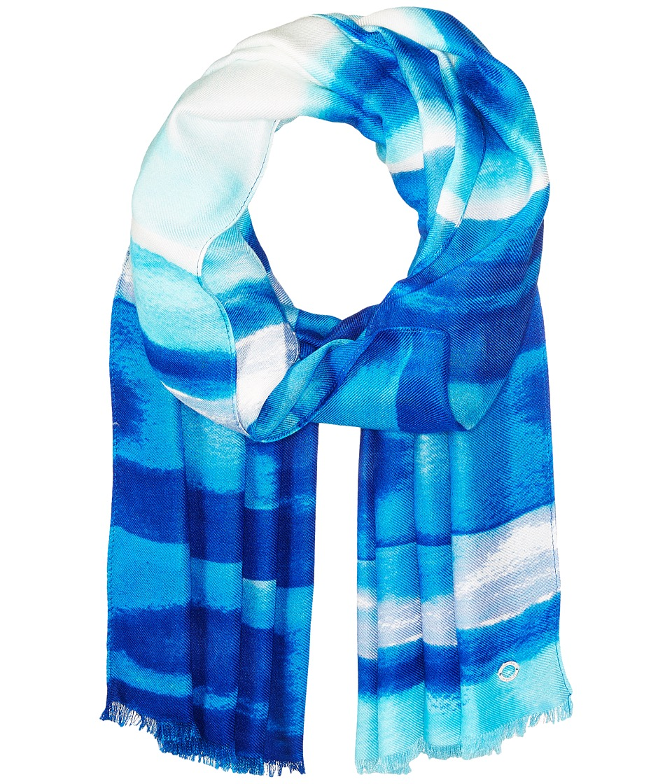 Calvin Klein - Watercolor Stripe Printed Pashmina (Regatta) Scarves