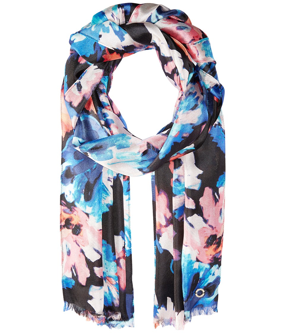 Calvin Klein - Painted Floral Silk Scarf (Coral) Scarves