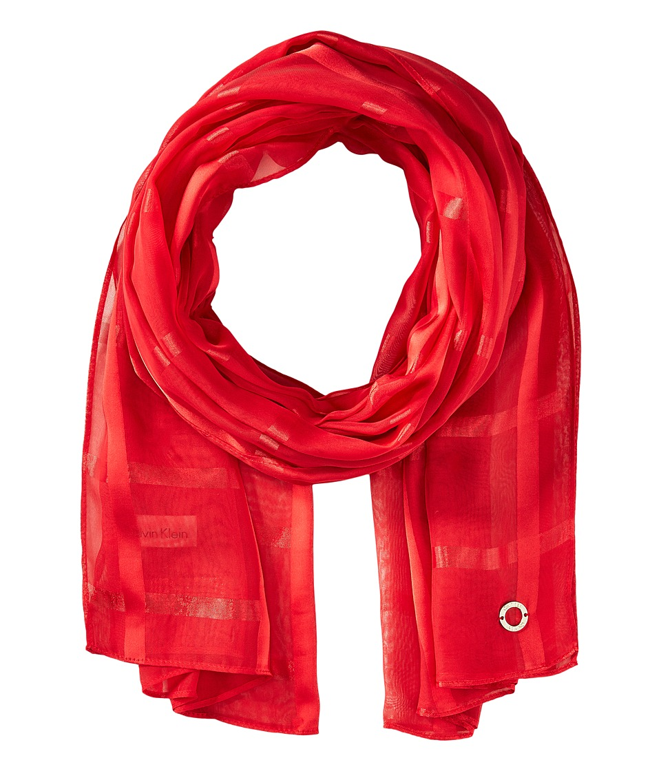 Calvin Klein - Solid Shadow Stripe (Rouge) Scarves