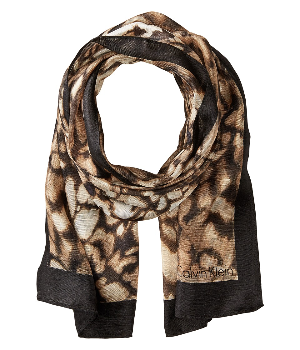 Calvin Klein - Abstract Animal Silk Scarf (Latte) Scarves