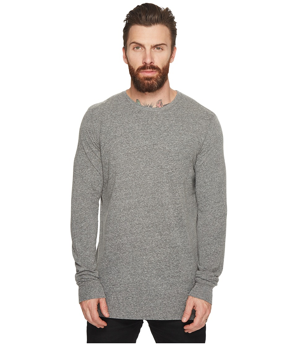 Richer Poorer Long Sleeve Crew Pocket Tee (Heather Grey) Men's T Shirt