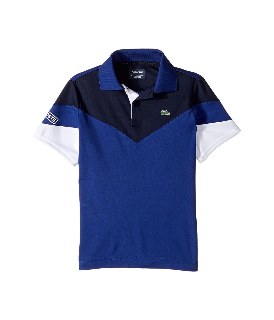 Lacoste Kids - Short Sleeve Color Block Polo (Little Kids/Big Kids) (Ocean/Navy Blue/White) Boy's Short Sleeve Pullover