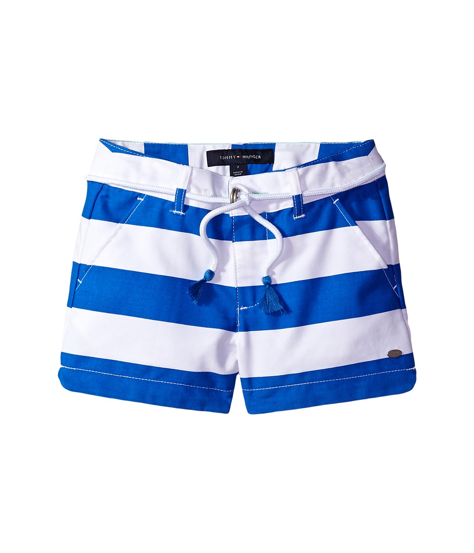 Tommy Hilfiger Kids - Rugby Stripe Shorts with Belt (Little Kids/Big Kids) (Regatta Blue) Girl's Shorts