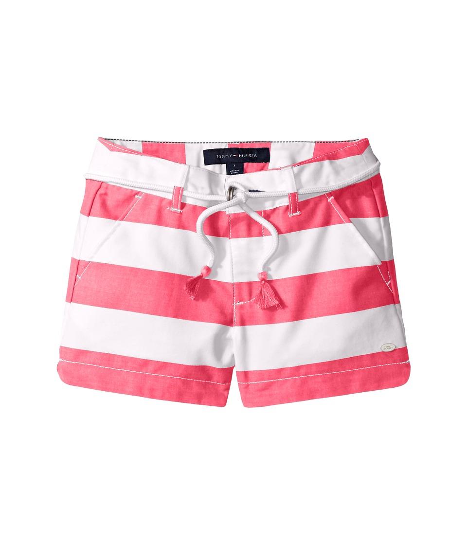 Tommy Hilfiger Kids - Rugby Stripe Shorts with Belt (Little Kids/Big Kids) (Wink Pink) Girl's Shorts